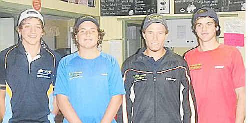 Fab five: Rhys Johnston, Matt Allen, Eli Baylis and Jarred Hall from the Baylis Tennis Academy at Sawtell.
