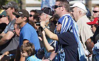 Support: Fans watch the Blues train at Cudgen.