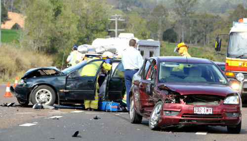 Five people were transported to Gympie Hospital after a two-car collision at the Bruce Highway-Purcell Road intersection yesterday morning.