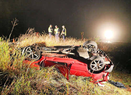 The Daihatsu Charade collided with a B-double on a sweeping bend north of Martells Road.