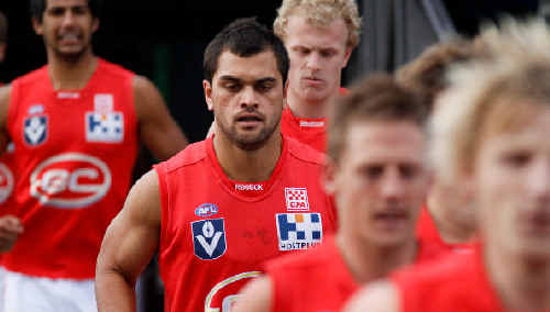 High-profile recruit Karmichael Hunt trots out with his Gold Coast VFL teammates against the Coburg Tigers.