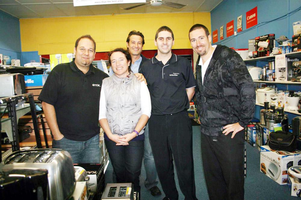 Fran Cummings with staff members (from left) Tamlyn Dalton, Gary Walker, Jamie Wilson and Joshua Dooley.