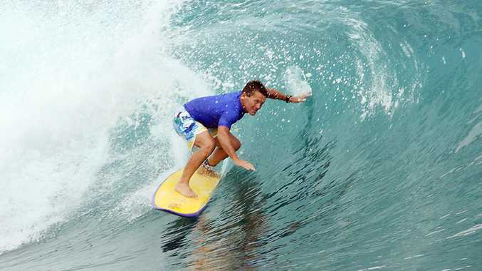 Neil Cameron of Byron Bay gets a tube at Macaronis in the Mentawai Islands in Indonesia. Neil has been selected to surf in the World Masters Titles in Panama in September.