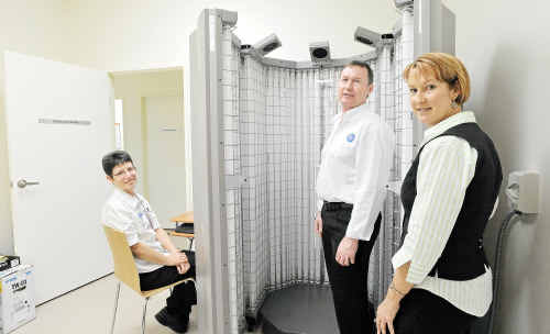 State of the art: Jan Riley, left, Peter Spence and Carol Banks with the new phototherapy unit that will be used to treat people with chronic skin conditions.