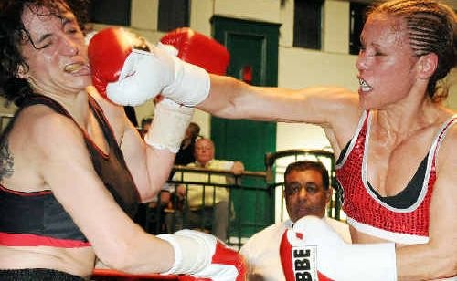 Main Arm's Laura Saperstein (right) lands a blow on Bulgarian Borislava Goranover in their recent bout at York Hall.