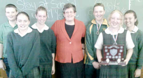 Debating finalists: St Mary's debating finalists (from left) affirmative team members Thomas McElhone-Rowe, Bec Anderson and Sarah Tansky, adjudicator Michelle Smith and negative team members Andrew Ryan, Demeaka Davis and Jess Lawson.
