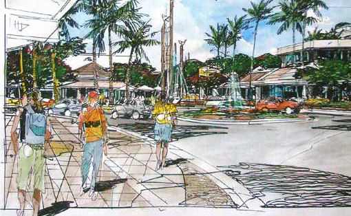 An artist's impression of the water feature and roundabout at the corner of Shute Harbour Road and the Esplanade.