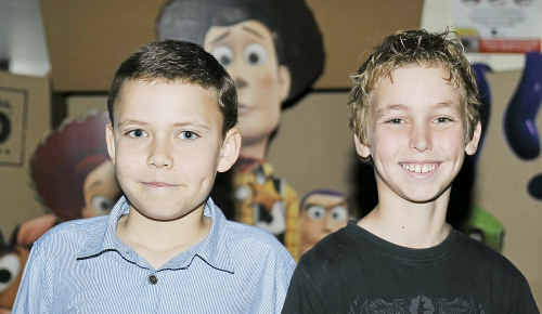Early starters for the holidays, (left) Jacob Khalu, 10, Jayden Dobbie, 10 at the Gladstone Cinemas going to watch Toy Story 3.
