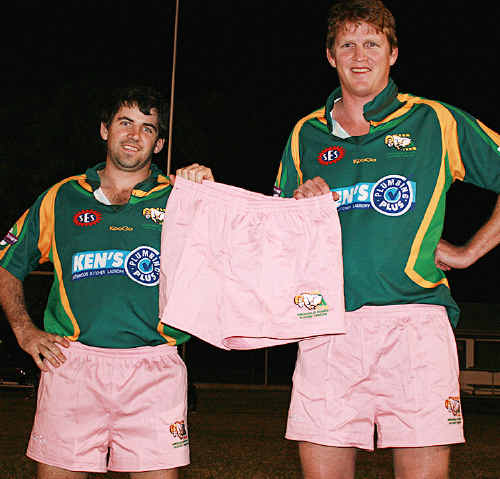 PINK POWER: Rams players Andrew Erbacher (hooker) and Tom Marland (No.8) in their new strip. sw-220610- 001