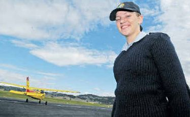 Lure of adventure: Fifteen-year-old Australian Air Force cadet Mikayla Hughes, from Lismore, took the opportunity to participate in a 'flying experience' at Lismore Aerodrome yesterday.
