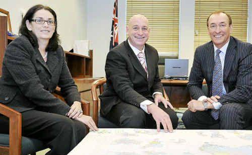 QGC managing director Catherine Tanna, Member for Flynn Chris Trevor and BG chief executive Frank Chapman.