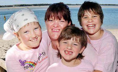 Jessie's party: Jessie's mum Kellie with her children Courtney, 9, Leila, 6, and Bow,11.