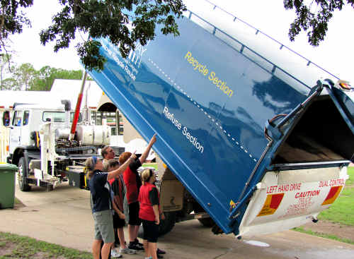 Cleanaway's split body trucks, now operating in Gympie, have a second floor which means they collect both recyclables and refuse.
