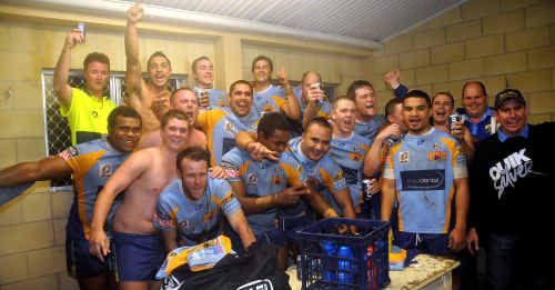 Celebrations abrupt in the Gympie Devils' dressing room at Albert Park at the weekend shortly after defeating the Caloundra Sharks 32-6. The win means the Devils replace Caloundra at the top of the competition ladder.