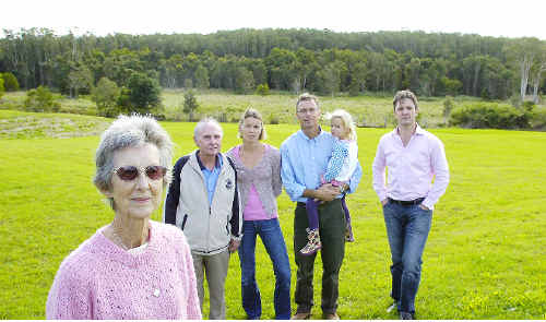 Goalposts shifted: Concerned Greenwood Grove residents stand on a plot of land at the up-market Lennox Head residential estate where 48 of the proposed 74 affordable housing units could be built.