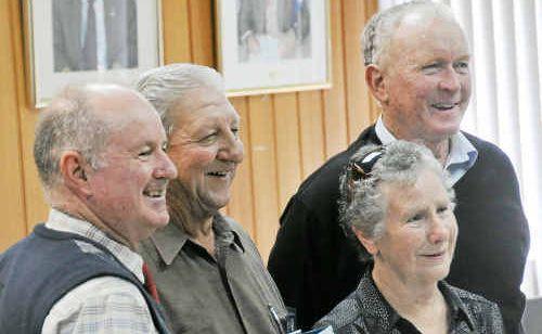 "Banana shire mayor John Hooper, with councillor Pat Brennan, congratulates Silvio ""Bob"" Moschioni and wife Melda."