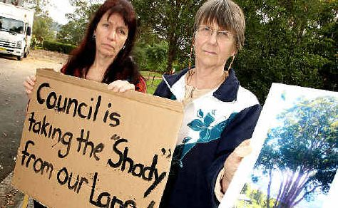 Gone: Shady Lane residents Leonie Seedsman and Dawn Hanson protest the removal of a 100-year-old forest red gum.