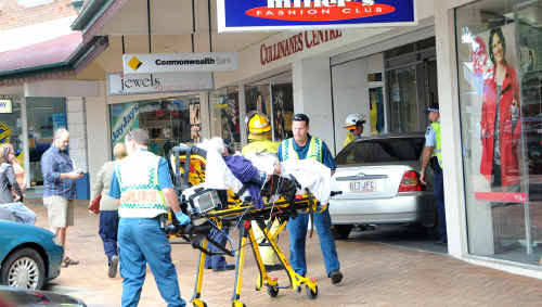 A car ploughed into the front of Cullinane's Plaza yesterday.