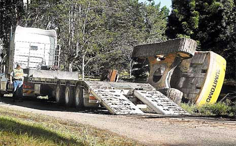 This excavator came to grief on Valery Road on the Coffs Coast.