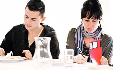 Morgan Fraser (right) in the Electrolux Appetite for Excellence Food and Wine program.