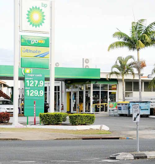 A BP service station in central Bundaberg.