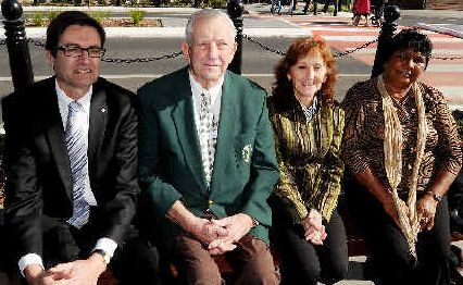 Open for business: Enjoying the Casino CBD upgrade at the official opening yesterday are Greg Combet (left), Col Sullivan, Janelle Saffin and Auntie Nora Caldwell from Casino.