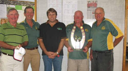 Gracemere's Rod Bredhauer, Peter Goody, Brandon Ladbrook (sponsor) Glen Herdman and Brian Hock, winners of the 2010 Centrack tournament in Yeppoon.