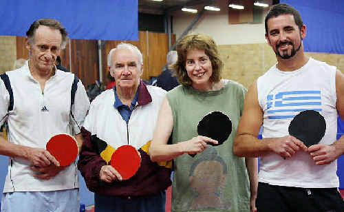 NET GAIN: Ruth Woodhams (second from right) with teammates Rodney Hearne, Jim Armstrong (the secretary-manager) and Tony Coronakes.