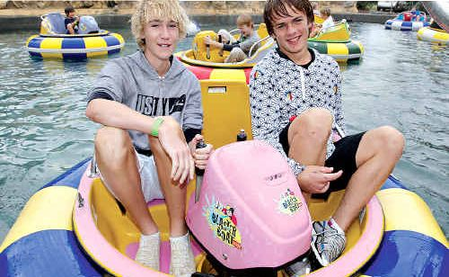 Joel Kennedy and Jordan Richardson, from Brisbane, get a buzz out of the blaster boats at Top Shots.