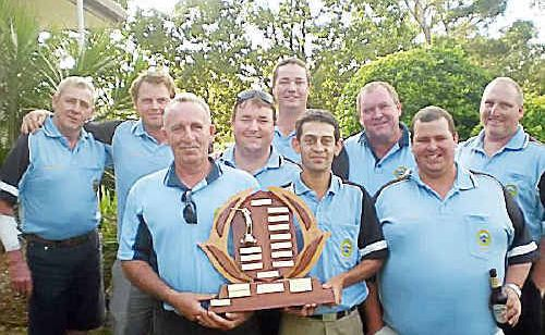 John Thorn, Grant Skinner, Gary Bolton, Shane Graham, Aaron Hart, Cheyne Clarke, Don Penson, Logan Toms and Mark Hutchinson with the Mid North Coast Division 1 Pennant trophy (Daniel Mollis absent).