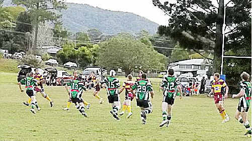 The Mary Valley Stags rugby league side launches an attacking raid on Coolum at home last weekend. The Stags play the Pomona-Cutters today.