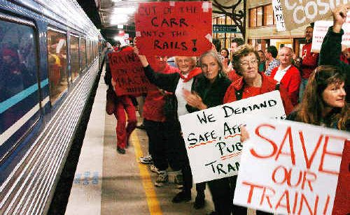 Angry protesters gathered on the platform at the Lismore Railway Station to farewell the last commuter train to leave Lismore for Sydney in 2004.