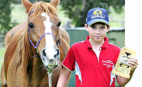 HORSEMAN: David Anderson, 12, from Belli, and his horse Ashwind were first across the line in the 160km Tom Quilty Gold Cup.