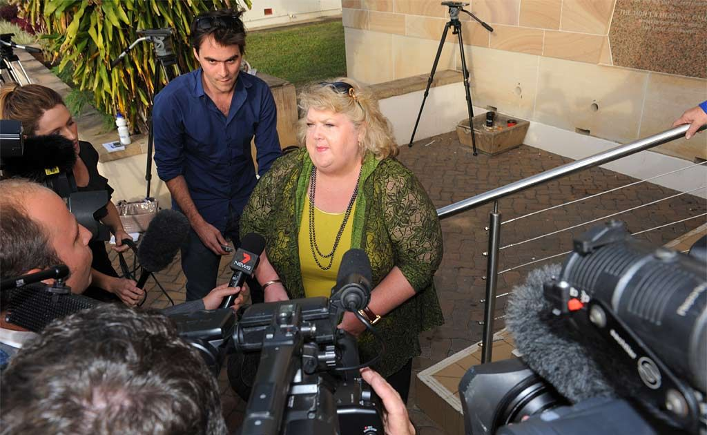 Toni Hoffman talks to the media at Bundaberg Courthouse after Patel's sentence was delivered.