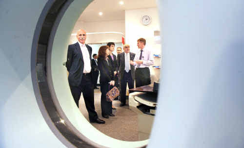 Pictured checking out the new CT scanner during a tour of the cancer unit are (from left) Federal Rural and Regional Health Minister Warren Snowdon, Federal Page MP Janelle Saffin, NSW Health Minister and Deputy Premier Carmel Tebbutt, base hospital medical physicist Setayesh Behin-Ain, State Lismore MP Thomas George and deputy chief radiation therapist Stephen Manley.
