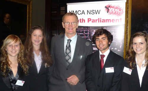 Renee Watts, Amelia McCarthy, Clarence MP Steve Cansdell, Lachlan Kilby and Jorja Armstrong at Parliament House in Sydney.