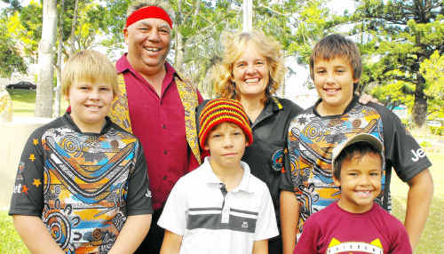 Indigenous Pastor Greg Stubbs, wife Carol and sons Samuel (back right) and (front from left) Daniel, Ben and Andrew were Welcomed to Country at the NAIDOC flag raising ceremony.