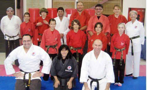 Annette Watson (back row, far right) with students and instructors (front, from left) Mark Finlayson, Lisa Marx and Richard Marlin.