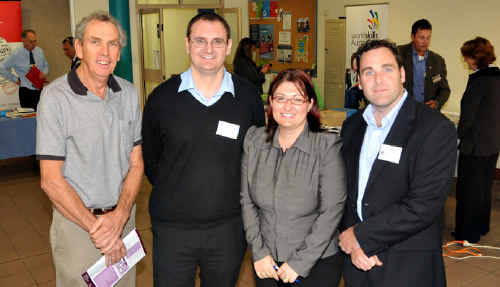 Wayne Morris, Scott McNeil, Deborah Mead and Gill Harkness at the first Gympie region innovation forum held yesterday at Gympie's TAFE campus.