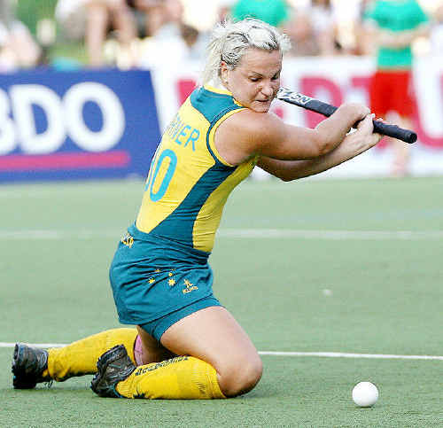 Ipswich and Australian hockey striker Amy Korner shapes to unleash a tomahawk during her recent European tour.