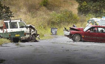 The male driver of the red car died in this head-on crash on the Nimbin Road at Coffee Camp.