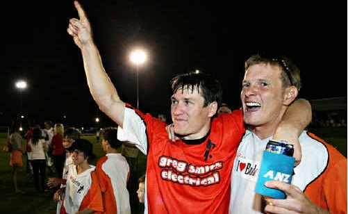 Scott Rocker, left, celebrates after helping Buderim beat Maroochydore in the 2007 grand final.
