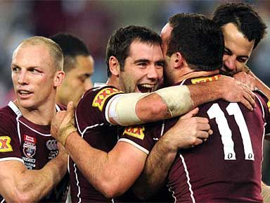 Queensland celebrates after winning the third game of the 2010 State of Origin.