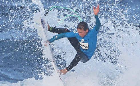 Lennox Head's Michael Wright on his way to winning his heat at Rusty Gromfest yesterday.