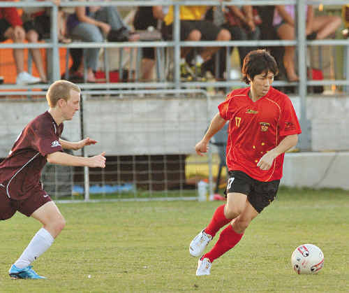 Yuta Gonai (right) scored a quick hat-trick against QAS earlier in the season.