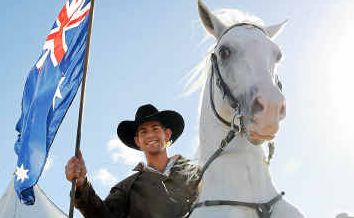 Callum Snell shows his skills on Silver, a Lipizzaner stallion. Both are part of the Horseman from Snowy River show.
