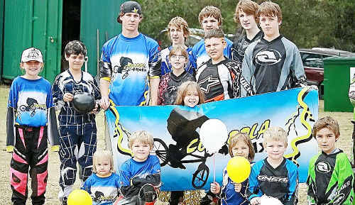TOP PERFORMANCE: Members of the Gympie BMX Club celebrate after upstaging the bigger clubs at the Oxley Cycles Southern Zone Championships in Ipswich during the first week of the school holidays. (Inset) Ethan Rodighiero found his range at the competition to continue his preparations ahead of the State Titles later this year.