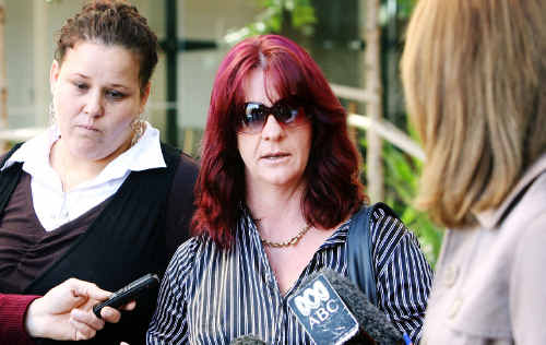 Helen Donaldson (right) speaks to media outside Ipswich Courthouse on the first day of the inquest into her son Andrew Bornen's death.