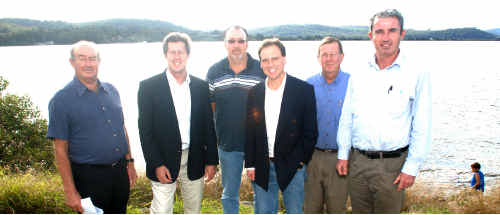 CRFC director George Baker, left, Member for Cowper Luke Hartsuyker, CRFC chairman David Anderson, Member for Flinders Greg Hunt, CRFC manager John Robson, and Nationals candidate for Page Kevin Hogan meet to discuss proposed marine park changes.