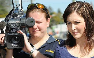 Prime Lismore reporter Emily Fardoulys and camera operator/editor Jackie Quaine out gathering the news.